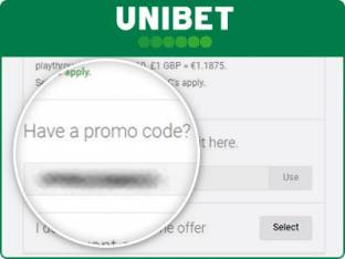 Location of the Unibet promo code box